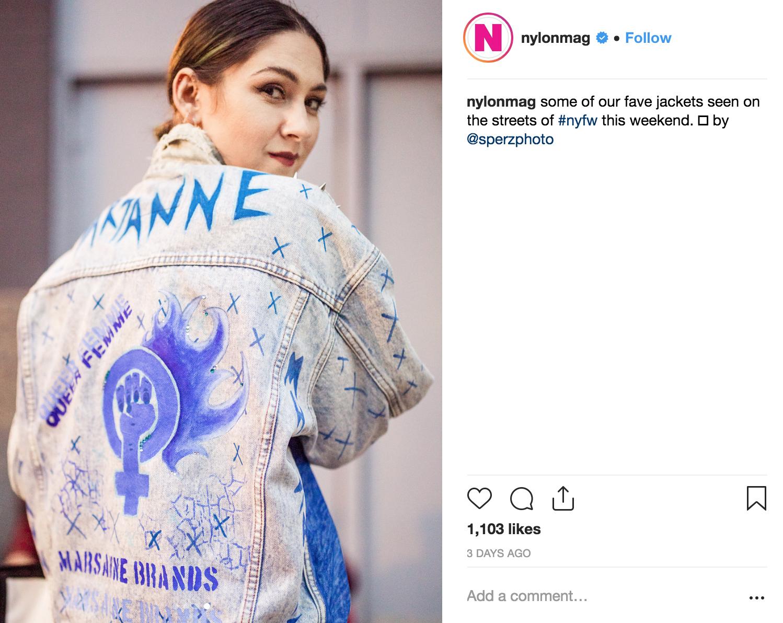 NYLON MAGAZINE - FEATURES MARSANNE BRANDS DENIM JACKET DURING NEW YORK FASHION WEEK 2018.