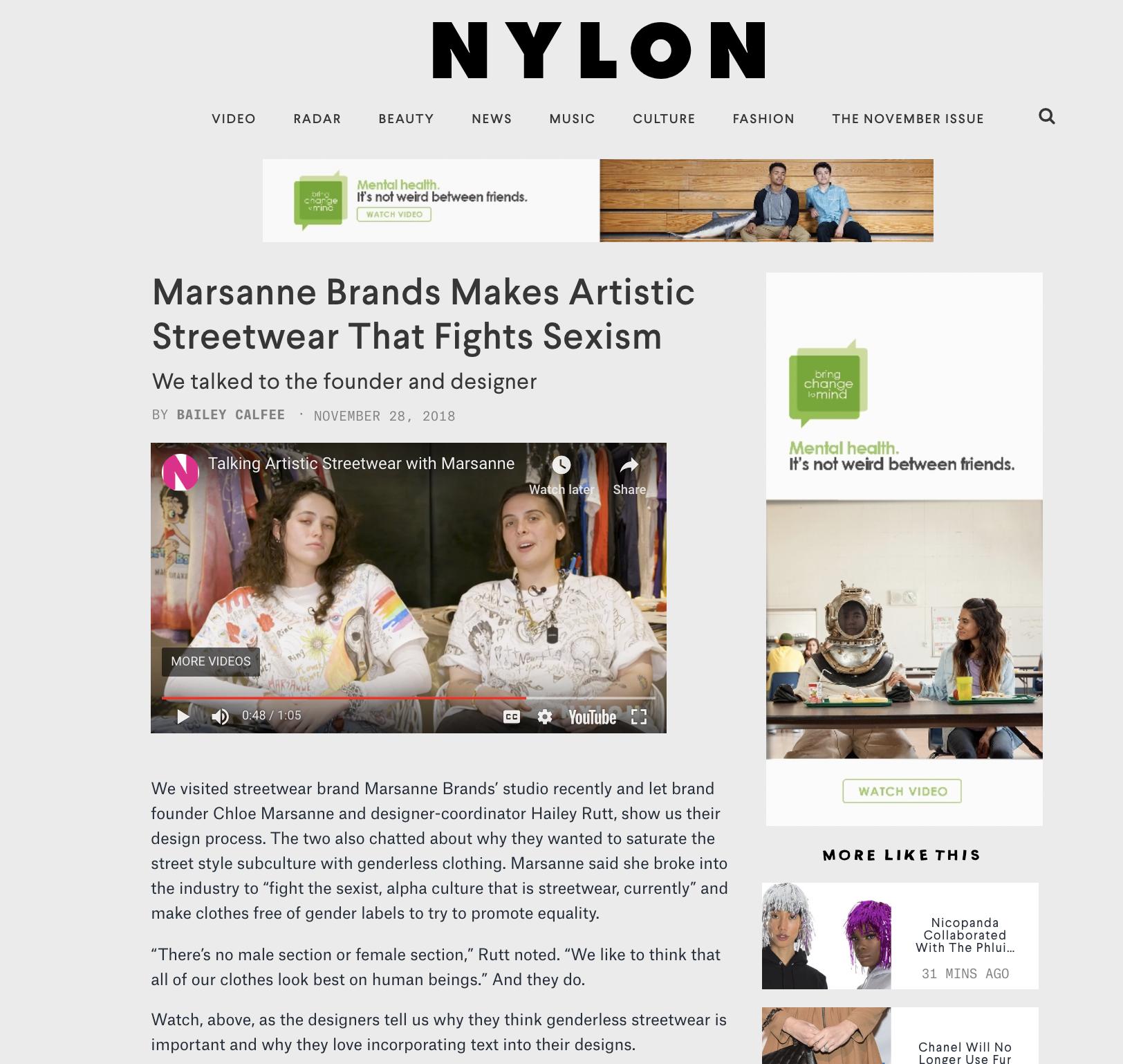 NYLON MAGAZINE - MARSANNE BRANDS VIDEO WITH NYLON MAGAZINE