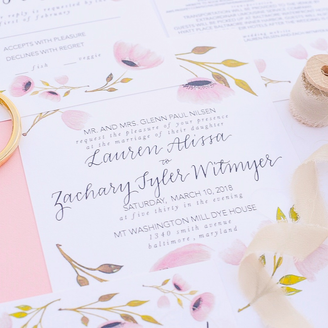 Watercolor, Calligraphy, + Design by Priscilla Anne