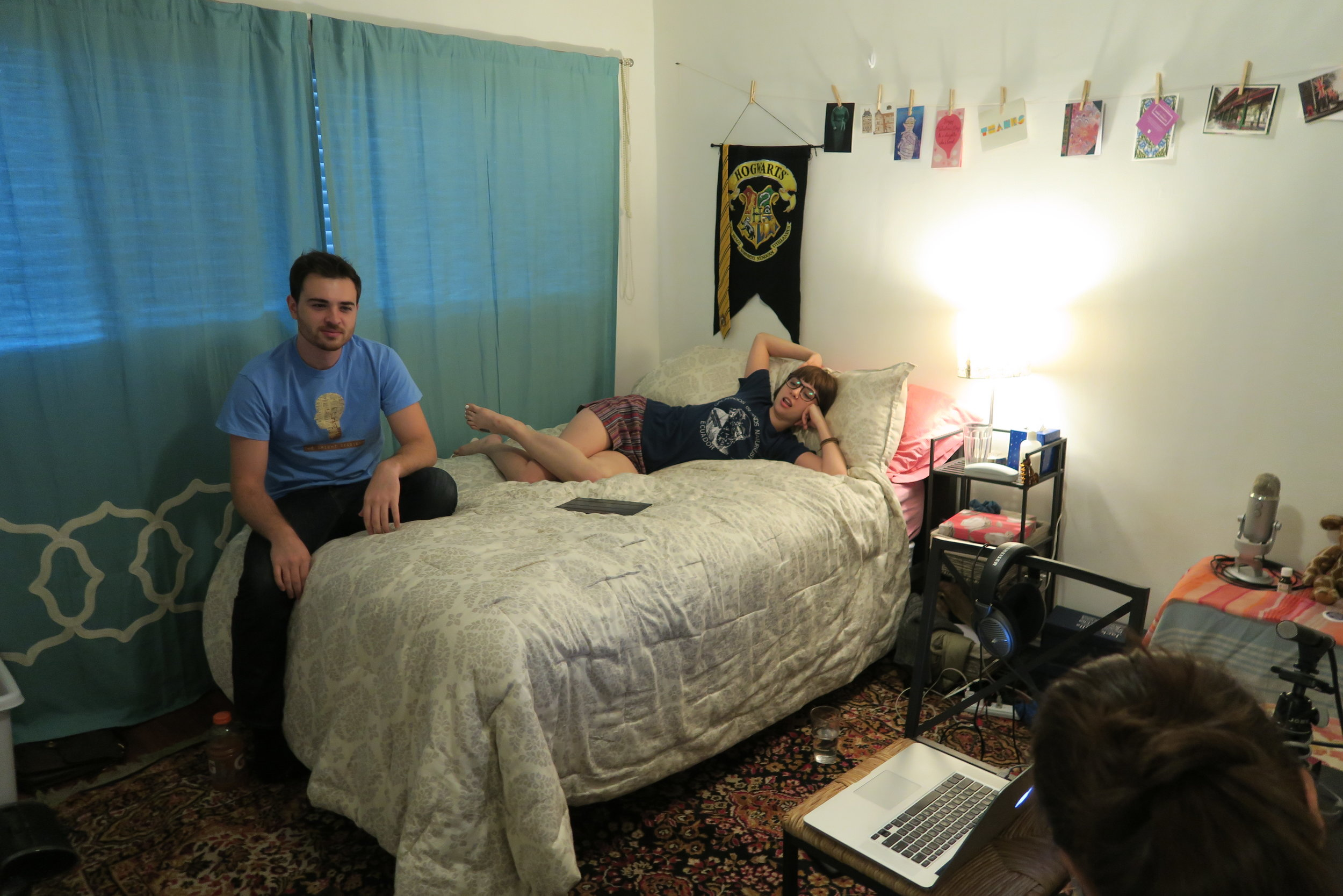 Charlie and Anna taking a break during Season 2 recording in our very swank green room, otherwise known as my bed.