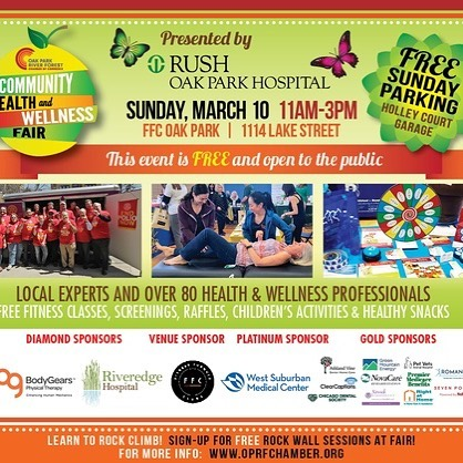 Register for the free Oak Park Health and Wellness Fair coming up next week, from @oprfchamber!  Great vendors from all over!  Hope to see you there! Link in bio.