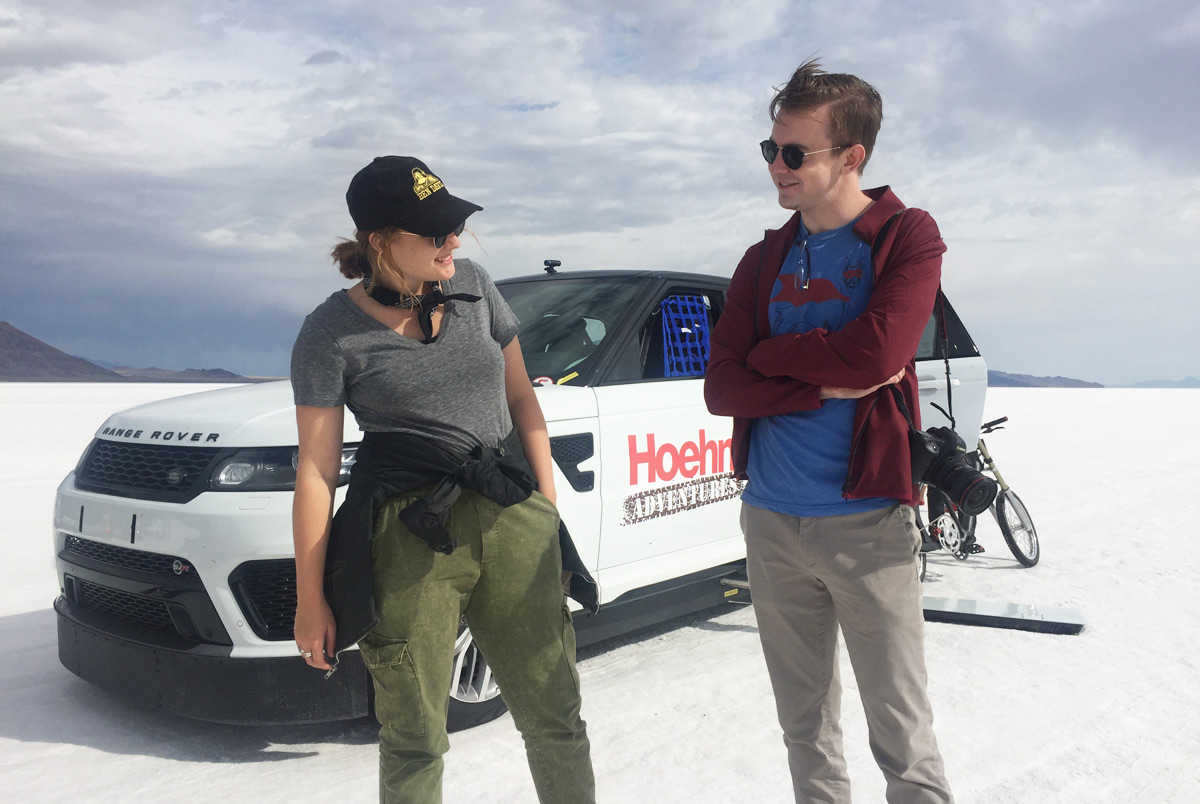 "Scenic's Maya Tippett and Jarrard Cole on location for ""The Fastest Ride"" at the Bonneville Salt Flats."