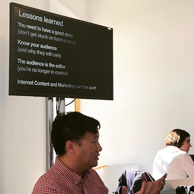 """""""The audience is the editor. You are no longer in control."""" Loc Dao of @nfb_interactive sharing lessons learned creating in VR at @futureofstorytelling. #fostfest2017 #fost #fostsummit"""