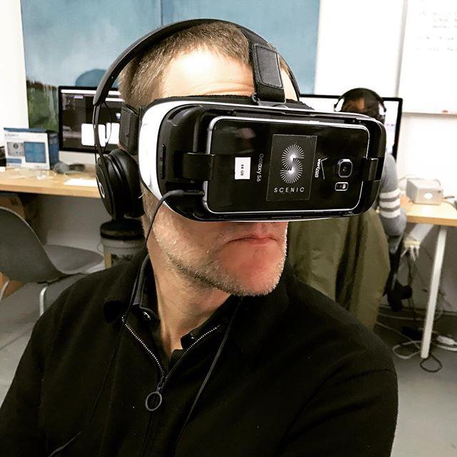 Obligatory HMD photo of documentary filmmaker Kasper Collin during a recent visit. If you haven't seen Kasper's incredible film @icalledhimmorgan check it out on Netflix! #kaspercollin #leemorgan #icalledhimmorgan #documentary #vr #virtualreality #360video #scenicVR