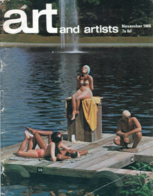 """Sunbathers"", by Claire Hogenkamp, 1969, cover of  Art and Artists , Nov. 1969"