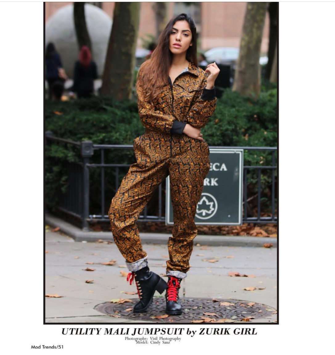 FALL 2018 FASHION IN MOD MAGAZINE featuring ZURIKGIRL UTILITY JUMPSUIT