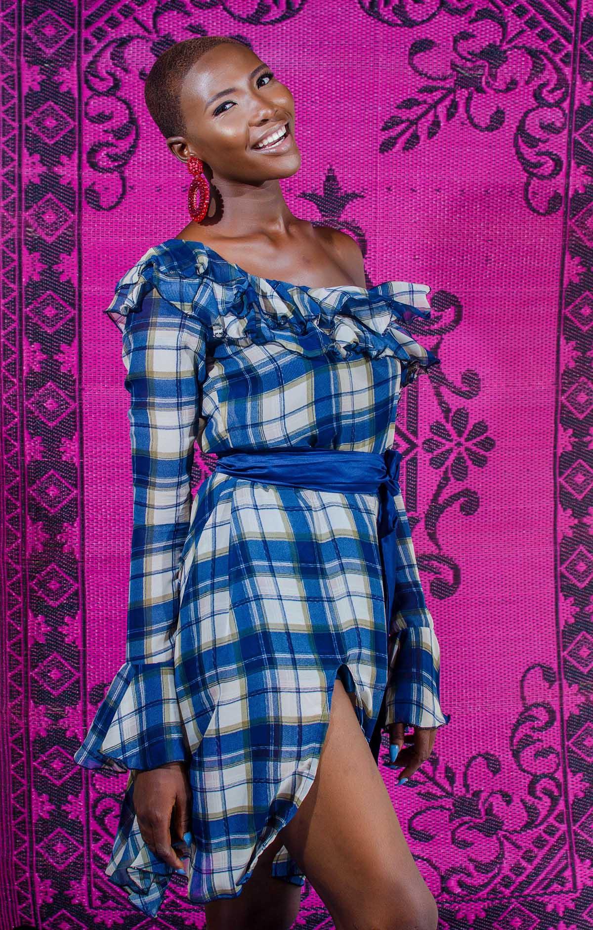 Plaid Ruffle Off-shoulder dress9369.jpg