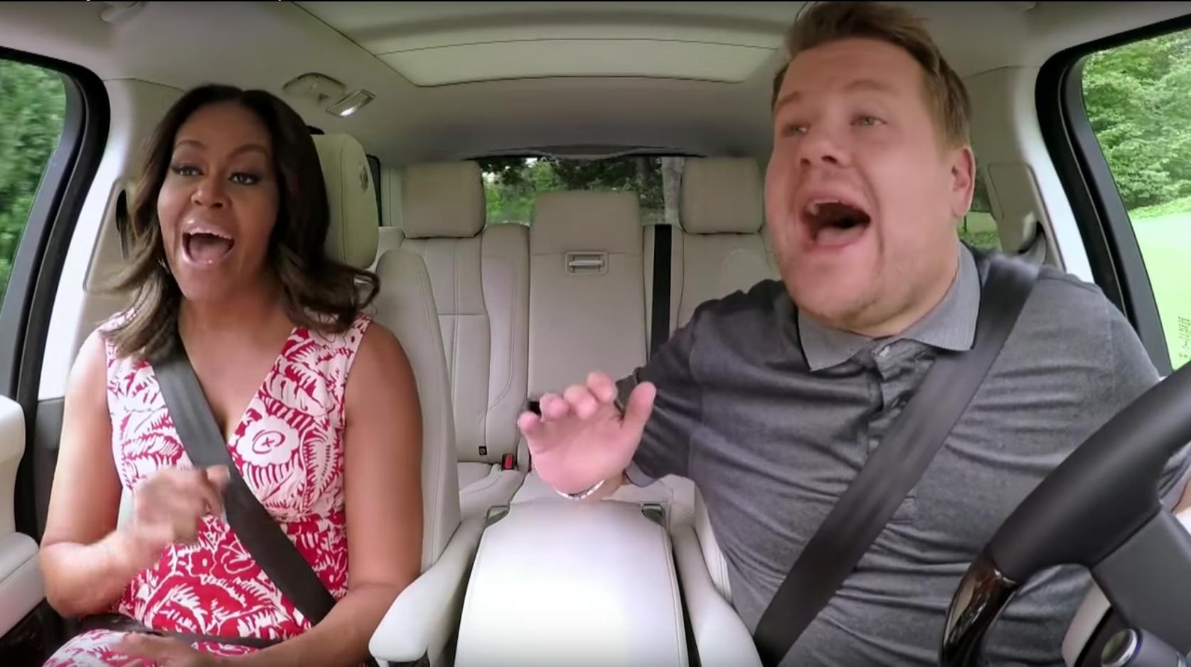 James Corden and Michelle Obama doing Car Karaoke