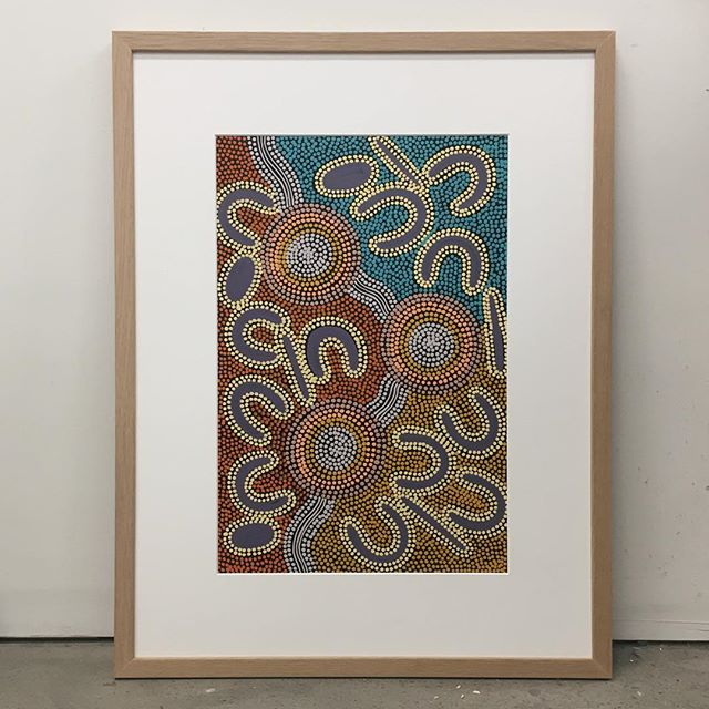 This beauty in a raw timber frame with wide set mat 🍂 . . . #billabongframinggallery #pictureframing #customframing #interior #design #style #artwork #painting #dotpainting #indigenous #australia