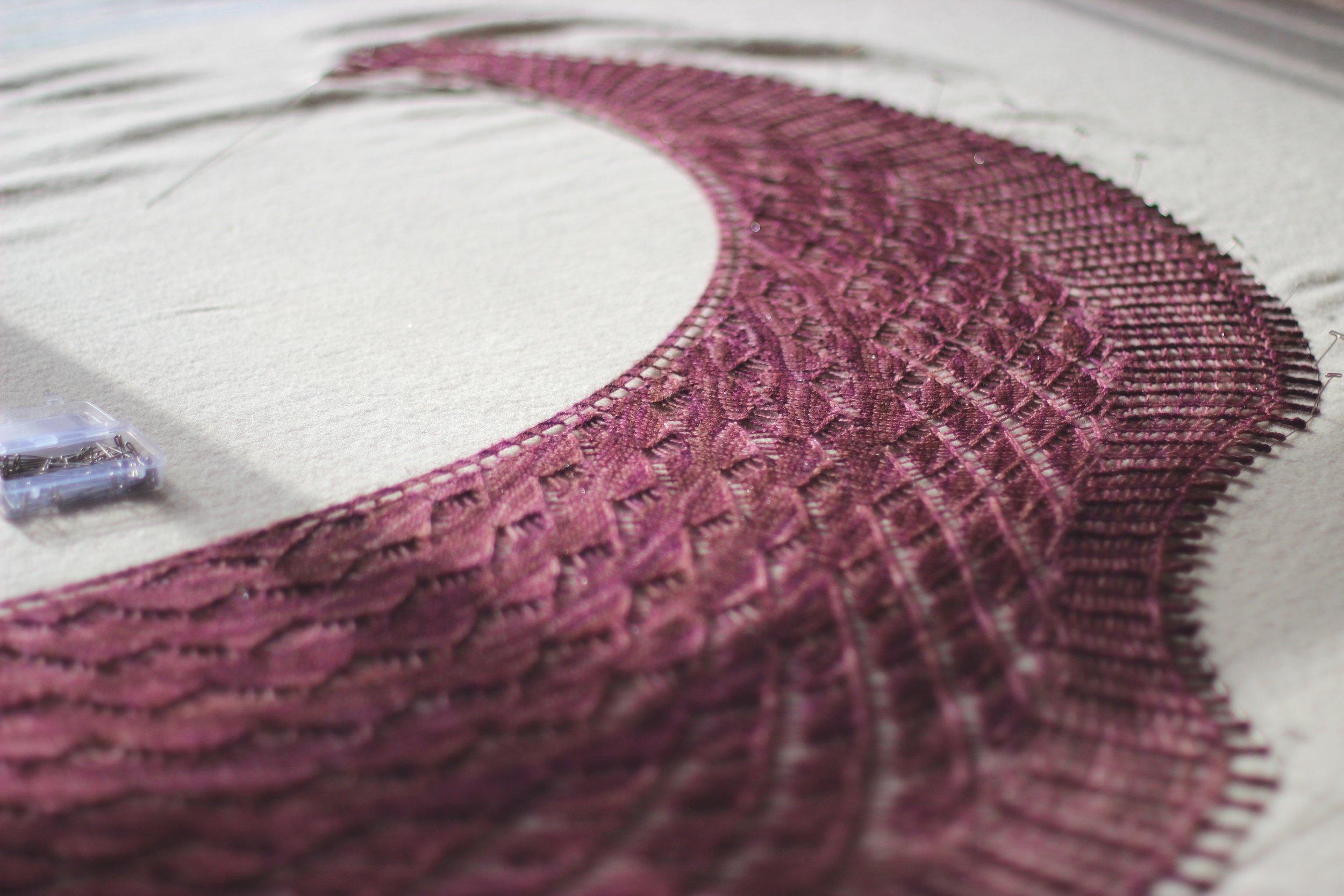 washing & blocking crescent shawls - PART TWO