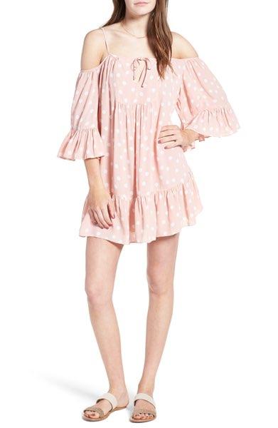 pink polka dot summer dress