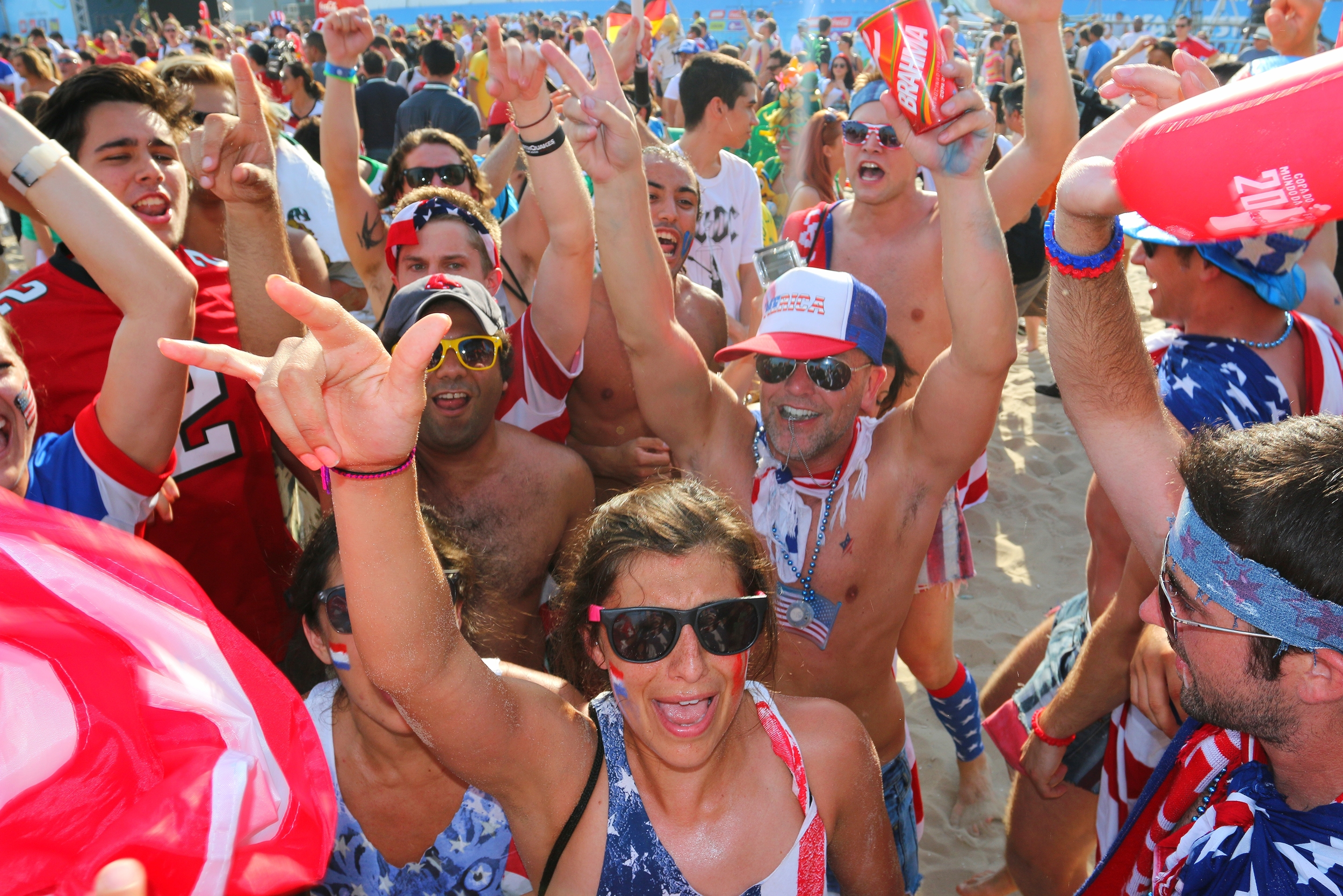 American fans celebrate advancing to the knockout stage of the World Cup -- Rio de Janeiro, Brazil