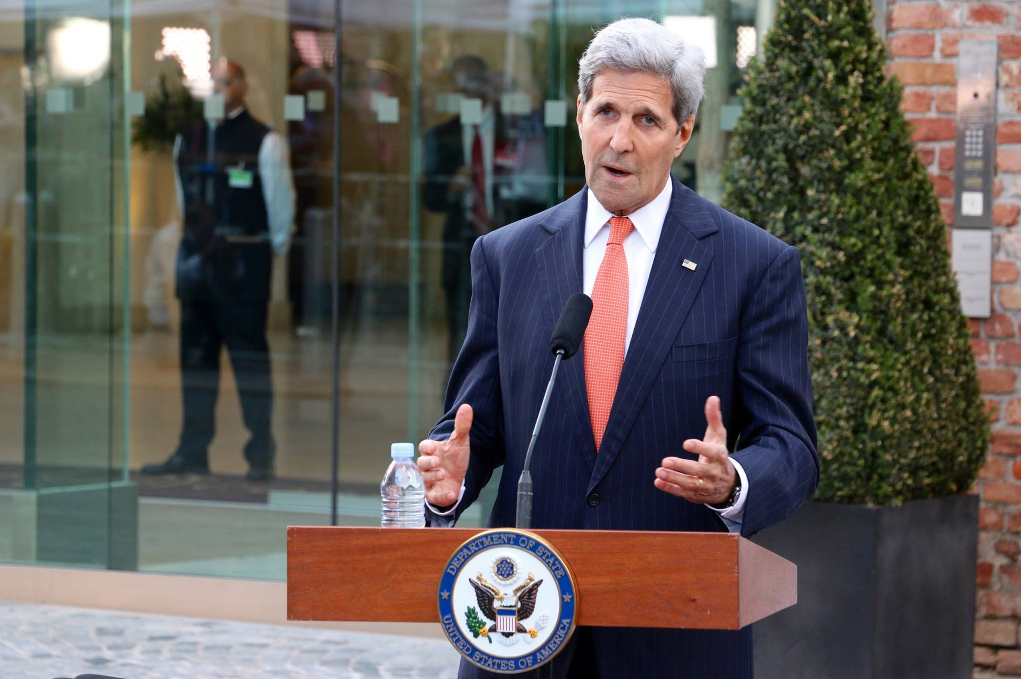 Secretary of State John Kerry, outside of the Palais Coburg at the Iran Nuclear talks -- Vienna, Austria