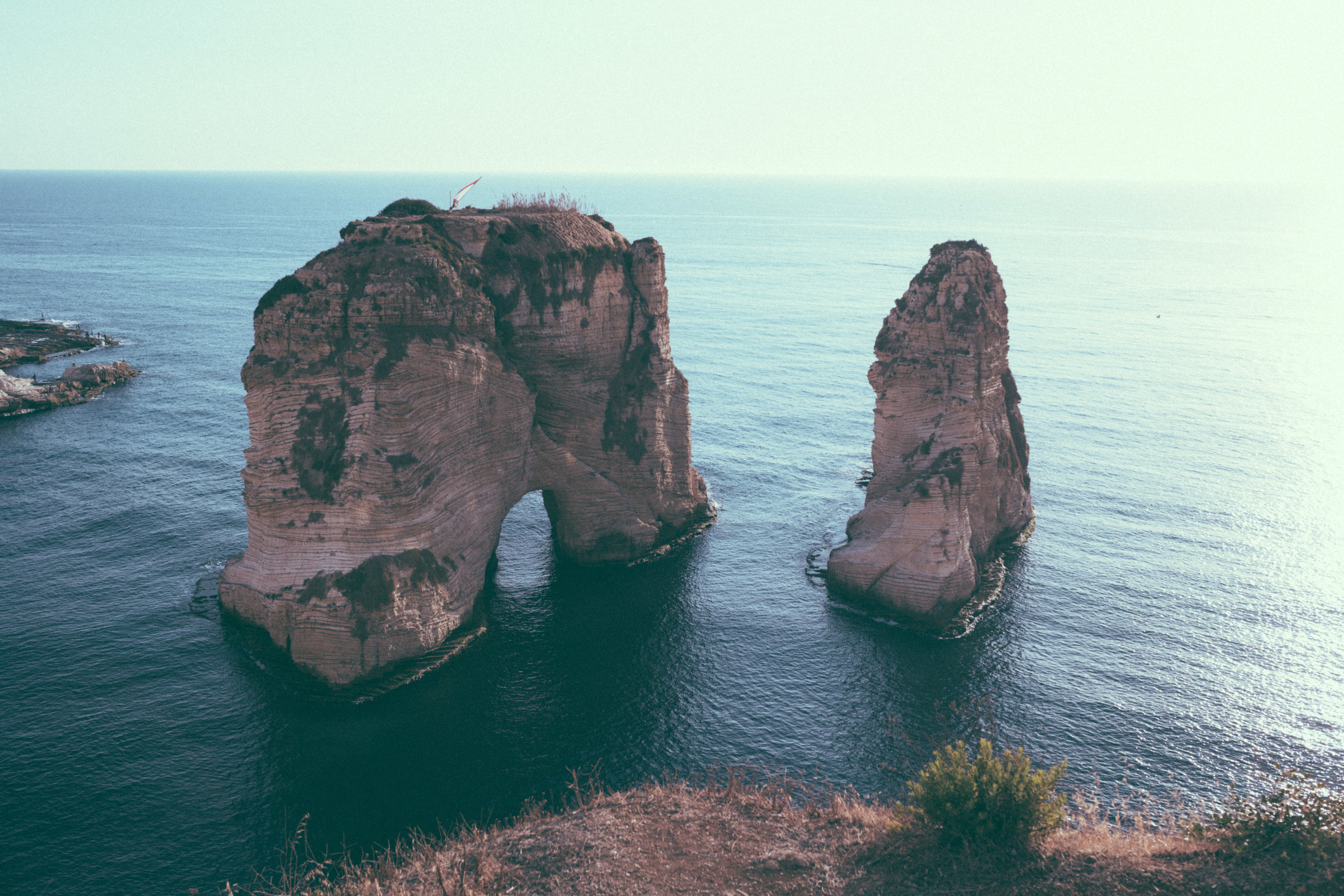 Sunset at the iconic Pigeons' Rock, RaouchÉ
