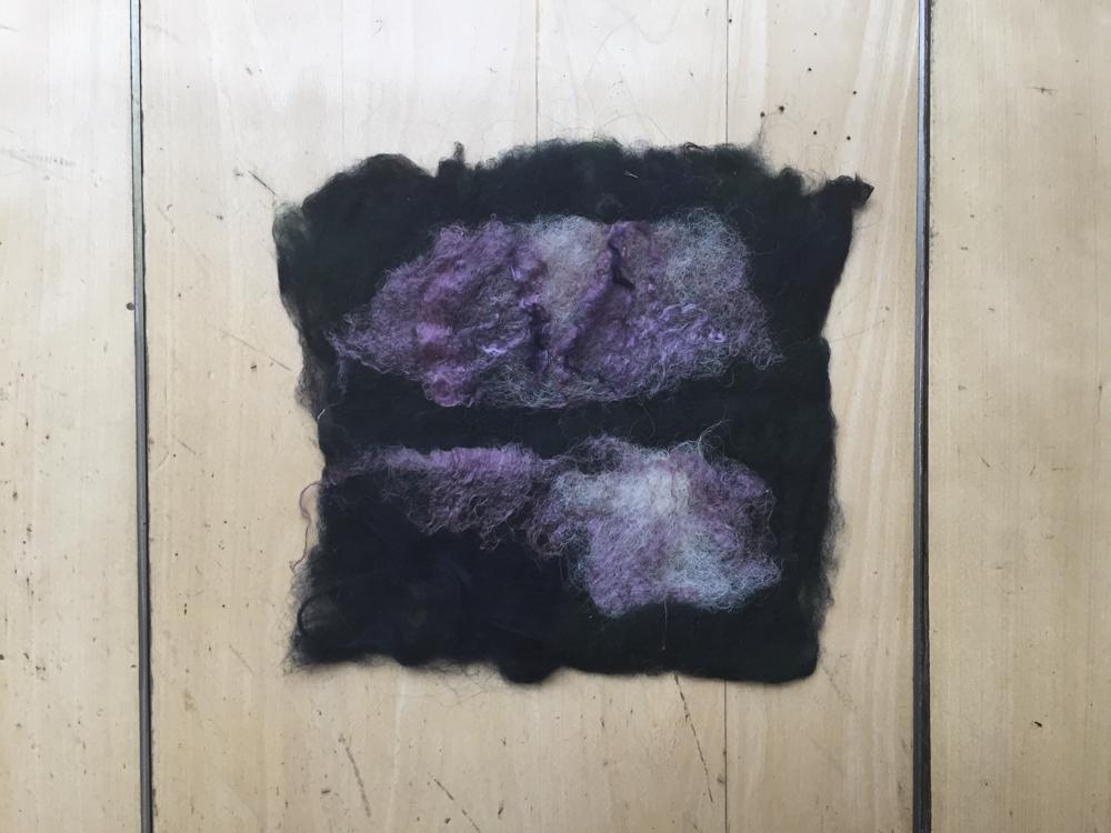 Foreground: copper silk + white wool mix Background: green + blue wool