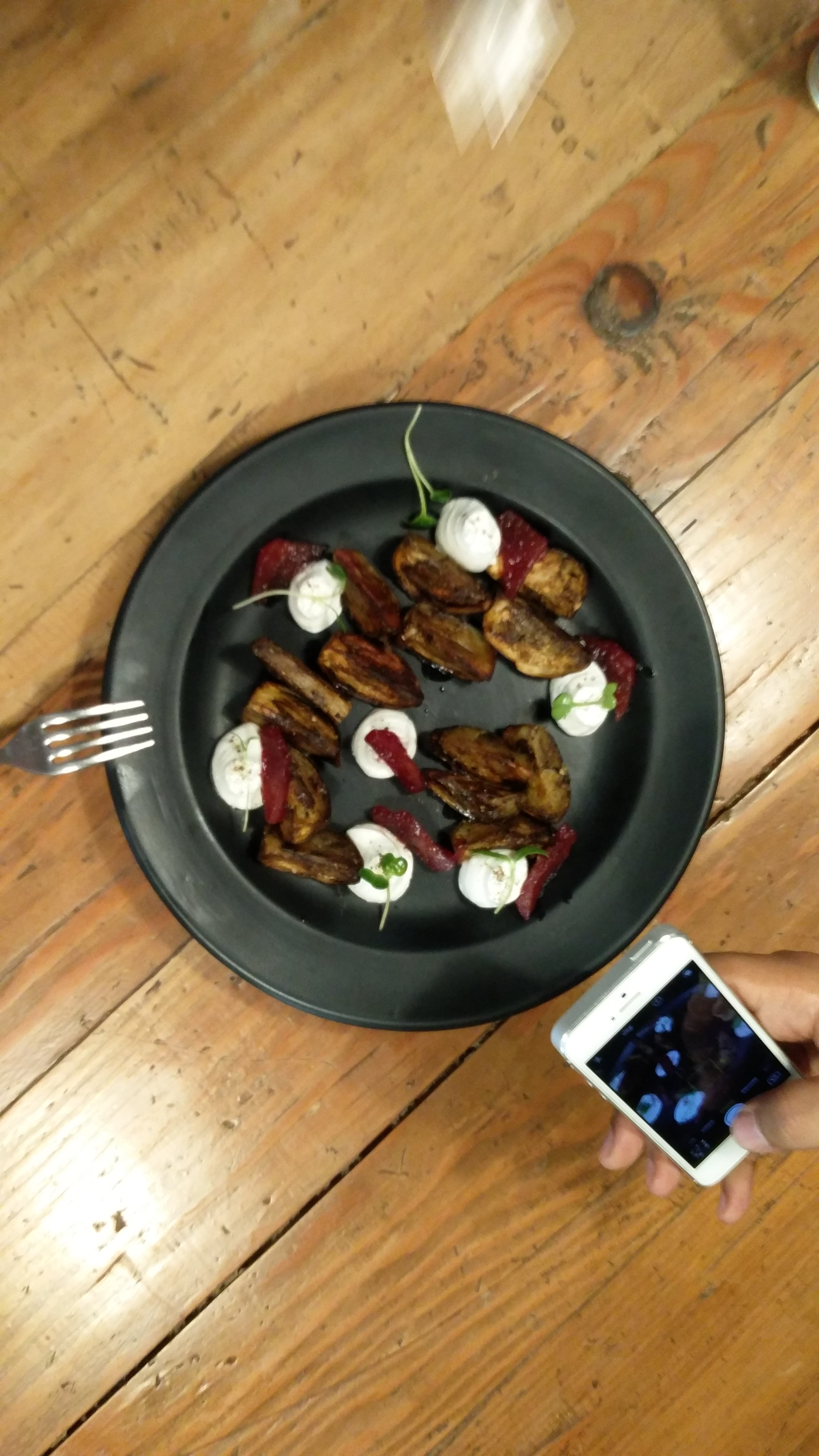 The eggplants we foraged were quite tiny. Chef Agnib did this quick dish of pan-fried eggplant slices topped with a goat's cheese mousse and some truffle oil. A simple and decadent dish where the eggplants played the perfect role in bringing all the elements together.  - Uzair