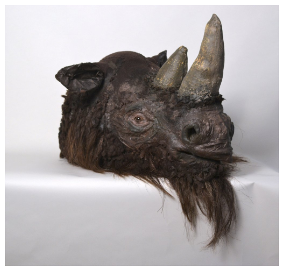"""Jacob Rhodes from Field Projects  curates the magically surreal and ancient animal masks of  Rachel Frank  into a tiny office space on the 22nd Floor. This rhino titled """"Coelodonta antiquitatis, Pleistocene Era Woolly Rhinoceros"""". I had the pleasure of doing a studio visit with her a year ago and her studio looked like a funhouse mirror of the natural history museum."""