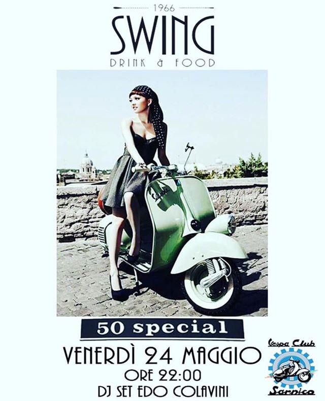Questa sera vi aspetto allo @swing1966 per la serata dedicato al MITO VESPA in collaborazione del @vespaclubsarnico  Dalle 22.00 djset by #djedocolavini Tanti cocktails e divertimento per una serata #50special