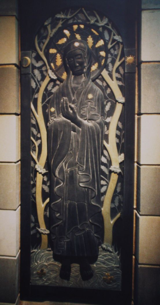 Madonna Various slate glass and brass 56inch x 24 inch x 3 inch All Hallows Church Miskin Llantrisant