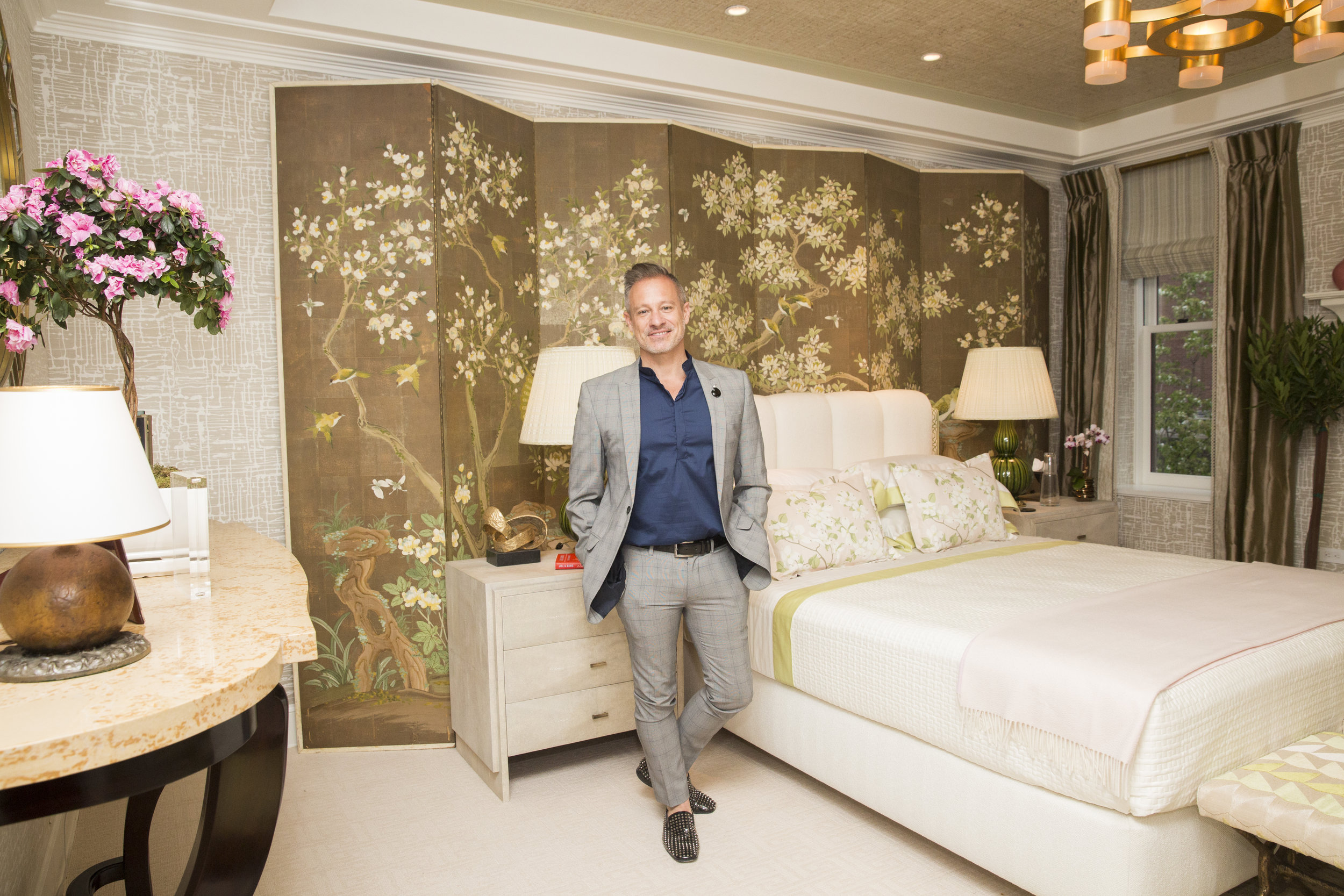 Brian del Toro and his bedroom for Kips Bay Show House