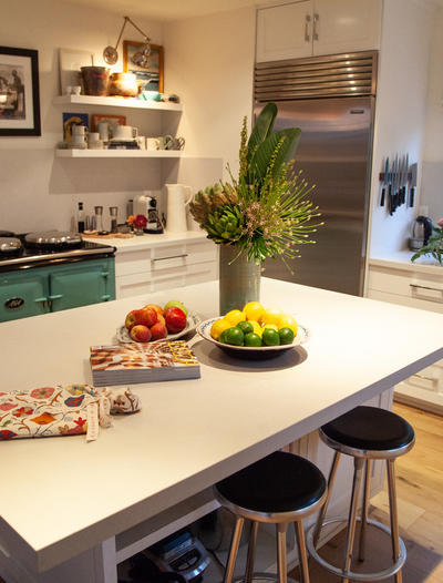 Kathryn M. Ireland's kitchen features an expansive Caesarstone countertop