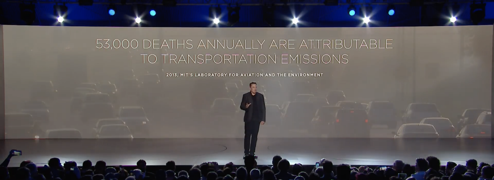 Musk establishes an enemy which his audience can align against: transportation emissions