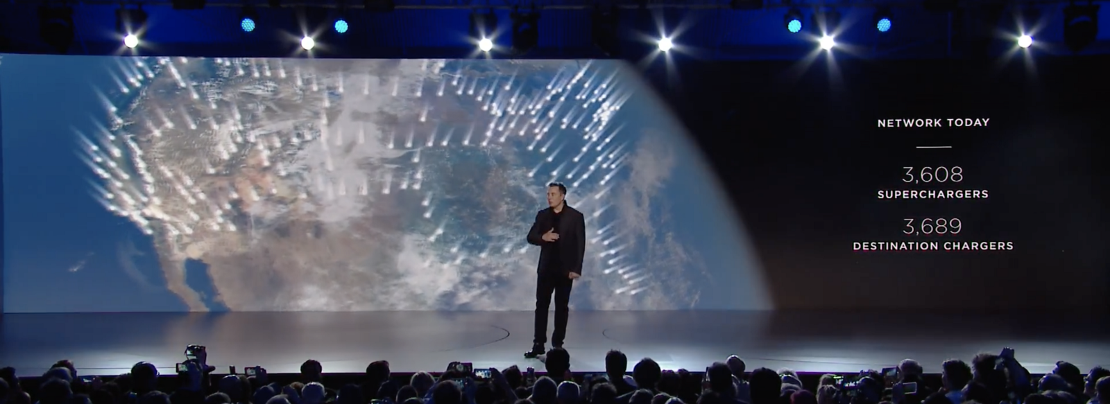 Musk introduces the Supercharger network as a tool which gives people the freedom to travel, rather than just a way to charge batteries