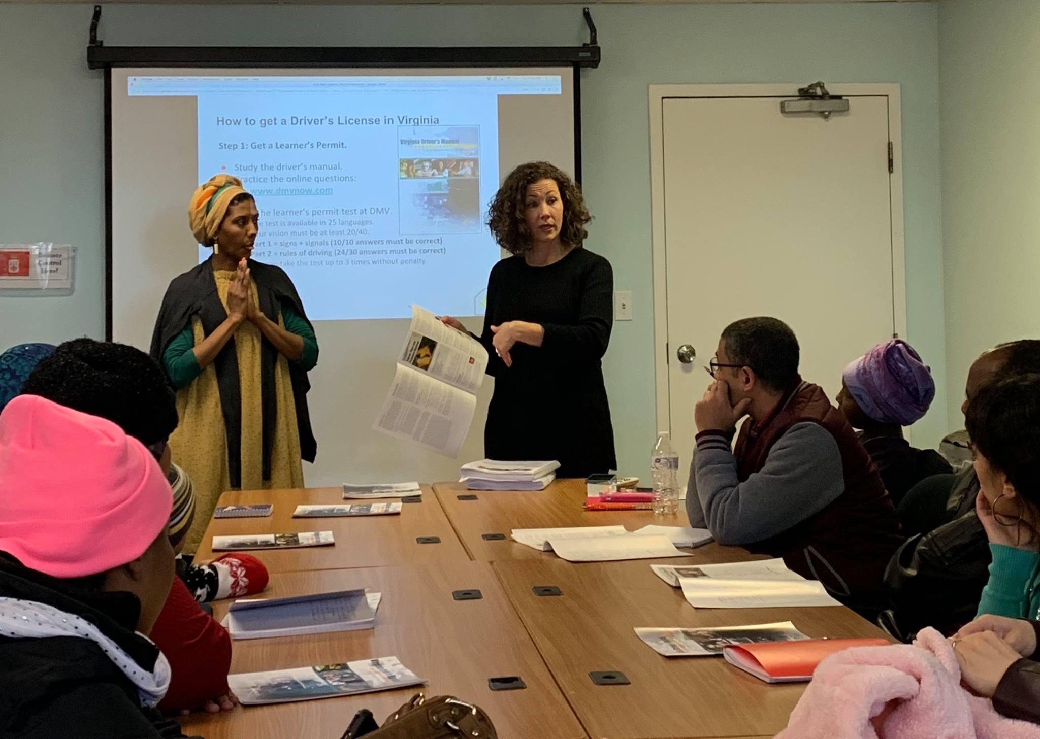 A learner's permit class taught by our Refugee Outreach Coordinator and interpreted into Arabic