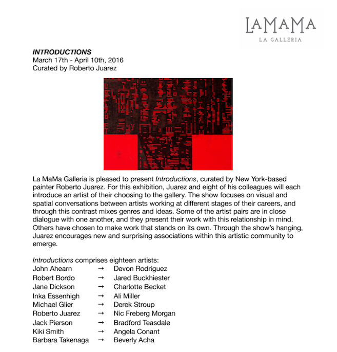 Angela Conant  (MFA AP13) is participating in the group exhibition  Introductions , at La MaMa Galleria focusing on visual and spatial conversations between varying artists. The roster of artists is quite fantastic and should make for a great event. For more information on opening and presentation times, follow this  link .