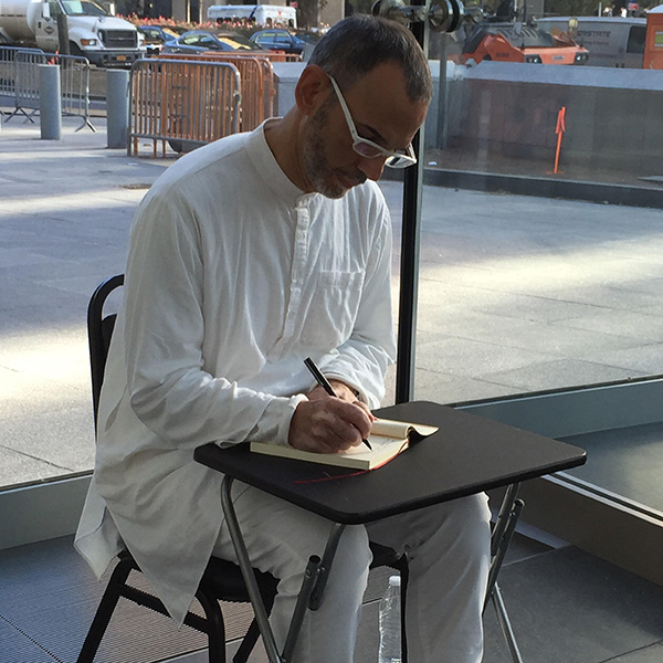 Ernesto Pujol  (AP Faculty) in his performance,  9-5 , earlier this week at Brookfield Place Pavilion.   Pujol discusses the work with  Quinn Dukes  (MFA AP15) on her site   Performance is Alive  .