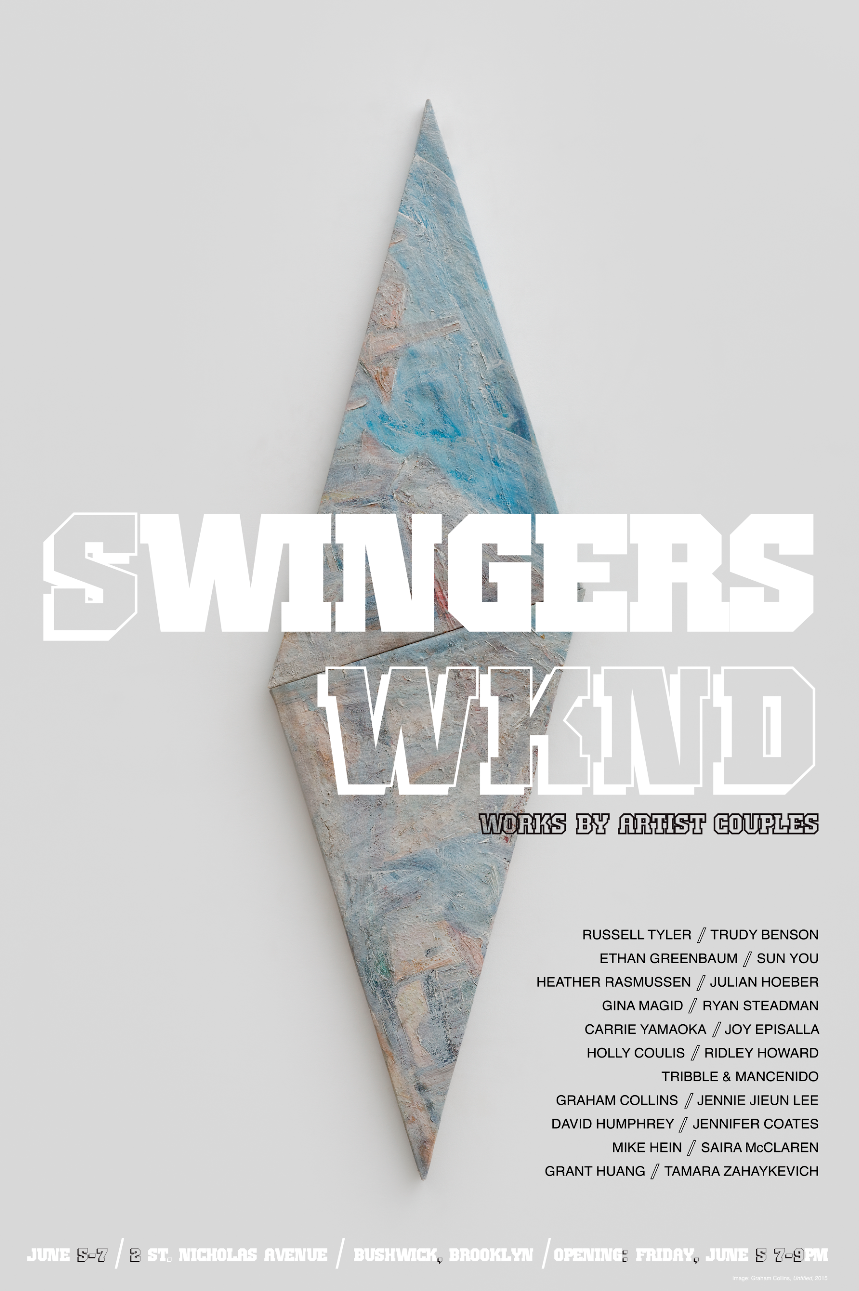 The artist duo  Frank Tribble and Tracy Mancenido  (MFA AP14) have curated the exhibition  Swingers WKND , which will be presented in conjunction with Bushwick Open Studios. The show highlightsthe mythology of creative partnership with work by artist couples. The pop-up show opens June 5, with a reception from 7-9pm and closes on June 7. (sky blue building on corner of Jefferson Avenue)2 St. Nicholas Avenue, Floor 2.