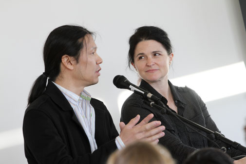 #TBT To  Eric and Heather ChanShatz  (AP Faculty) at their solo exhibition  Universal Platform  at the  Westmont Ridley-Tree Museum  back in November of 2011. Check out the link for photos of the beautiful exhibition!