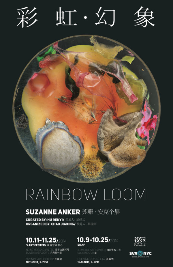 Rainbow Loom , a two part solo exhibition by  Suzanne Anker  (BFA FA Chair and AP Faculty), curated by  Renyi Hu  (MFA AP13) opens on October 9 at SNAP and October 11 at  V Art Center  in Shanghai, China.