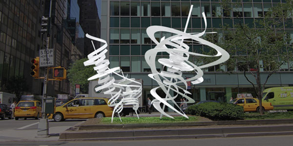 """Alice Aycock's  (AP Mentor) twister-like sculptures, """"Park Avenue Paper Chase,""""  will soon be unveiled on Park Avenue ."""