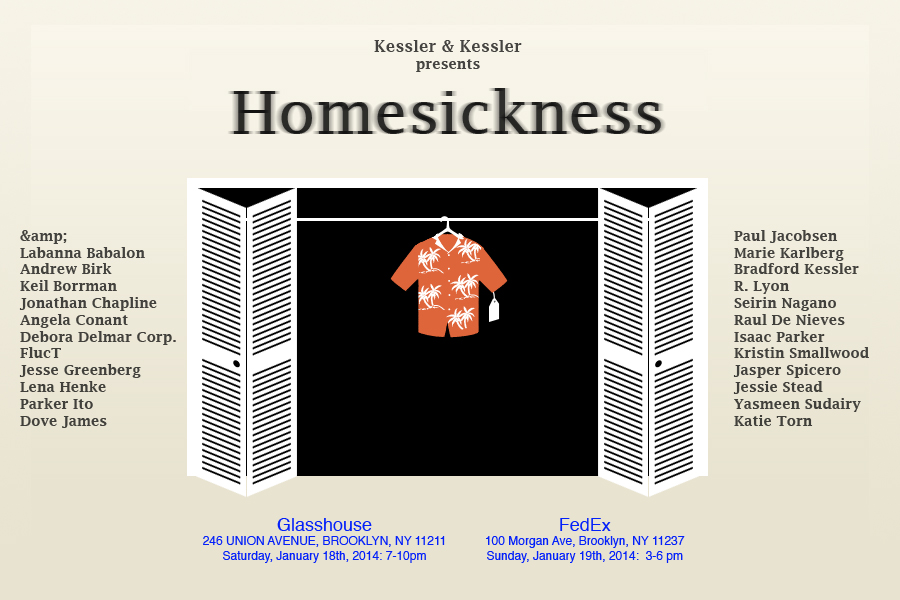 Art Practice alumni Bradford Kessler and Mathias Kessler ('14) present   Homesickness  , a two-act event at Glasshouse ArtLifeLab this Saturday and Sunday January 18-19. The show will include work by their fellow alumni Angela Conant, Seirin Nagano, and Yasmeen Sudairy.