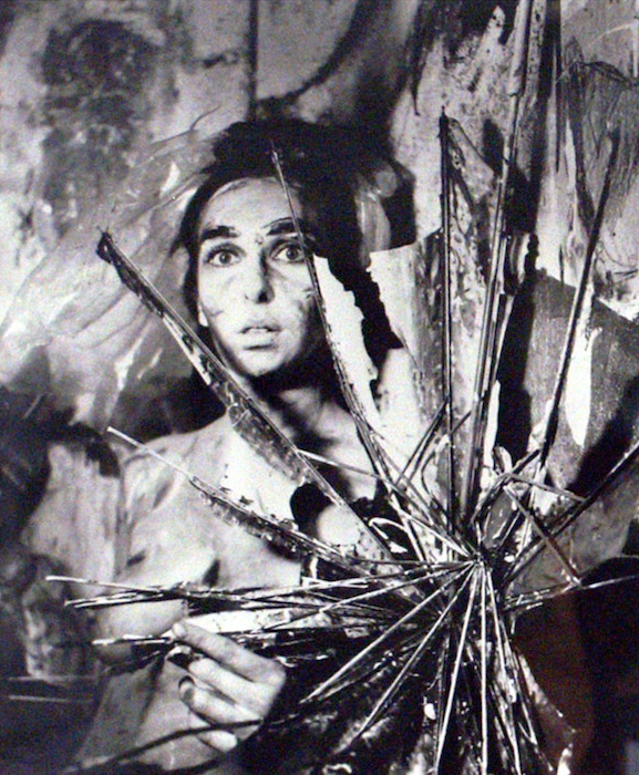 """Feminist-Art Icon Under Her Umbrella-Ella-Ella  : Robin Cembalest writes for ARTnews about  Carolee Schneemann's  (AP Mentor) work at Art Basel Miami Beach.   Image: Carolee Schneemann, """"Eye Body #24,"""" photograph"""