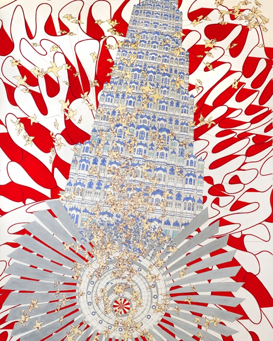 """Watch  Richard Goldstein's Q & A with Alice Aycock  (Art Practice Mentor) on BOMBLOG.   Rock, Paper, Scissors (India '07), 2010, watercolor and ink on paper 95 11/16×59 1/2"""""""
