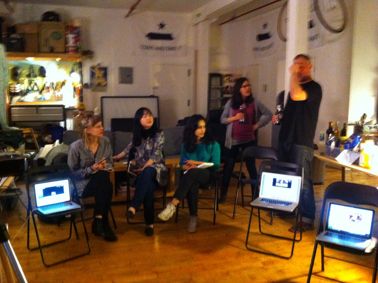 Art Practice Thesis Prep meeting, with members of the  MFA AP13  attending in person or virtually.