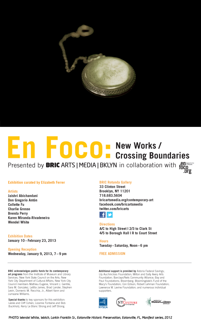 "Art Practice Participant  Brenda Perry  (MFA AP 14) is included in the upcoming group exhibition, ""En Foco: new Works/ Crossing Boundaries"" at BRIC Arts Rotunda Gallery."