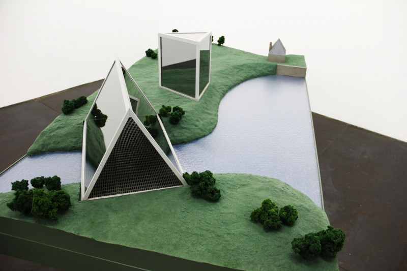 "A rt Practice mentor  Dan Graham  is showing two works,  Private ""Public"" Space: The New Corporate Atrium Garden  and  Two-Way Mirror Bridge  and  Triangular Pavilion to Existing Mill House for Domaine de Kerguéhennec   (above), at  Murray Guy  in the exhibition  DAN GRAHAM / COREY McCORKLE ."