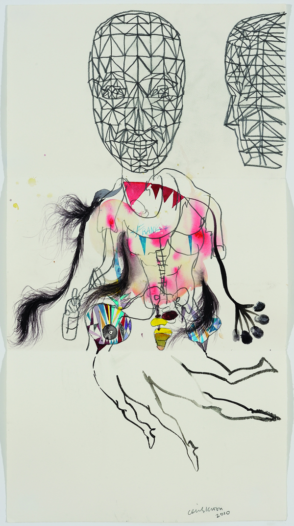 Head: Terry Winters, Medium: Graphite   Torso: Brad Kahlhamer, Medium: Black Ink, India Inks, Pencil, Colored Pencil   Legs: Cecily Brown, Medium: Black Ink    The Exquisite Corpse Project , featuring over 100 unique collaborative drawings opens on October 12 at  Gasser Grunert Gallery . The exhibition includes drawings from Terry Winters, Vito Acconci, Glenn Ligon, Terence Koh, Lawrence Weiner, John Baldessari and Liam Gillick. Sales of the works benefit  ARMITAGE GONE! DANCE .