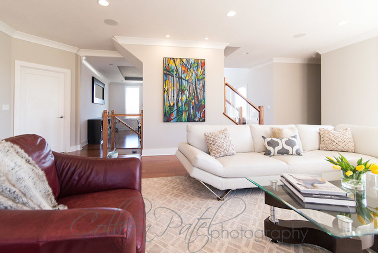 Artwork created by SASLLC owner and artist Samantha Silvas. Custom framing and canvas by Heather Heitzenrater. Photography by Colleen Patel. Interior designer: Kimberly Popp.