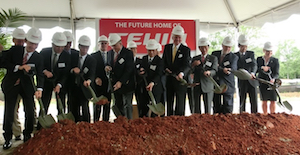 Officials break ground on the site of the future Teijin carbon fiber plant in Greenwood.