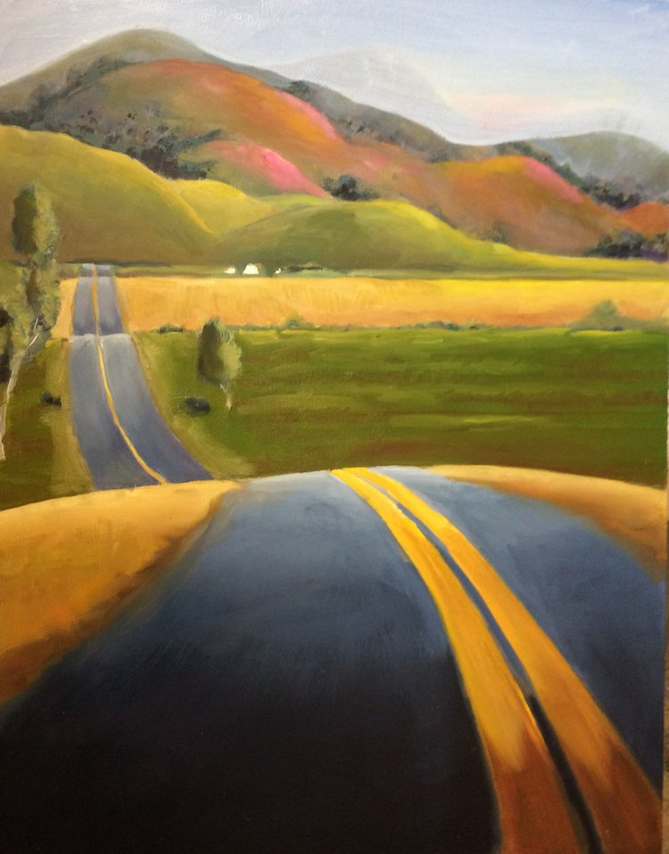 "Sacramento Hills  Oil on board   20"" x 16"""
