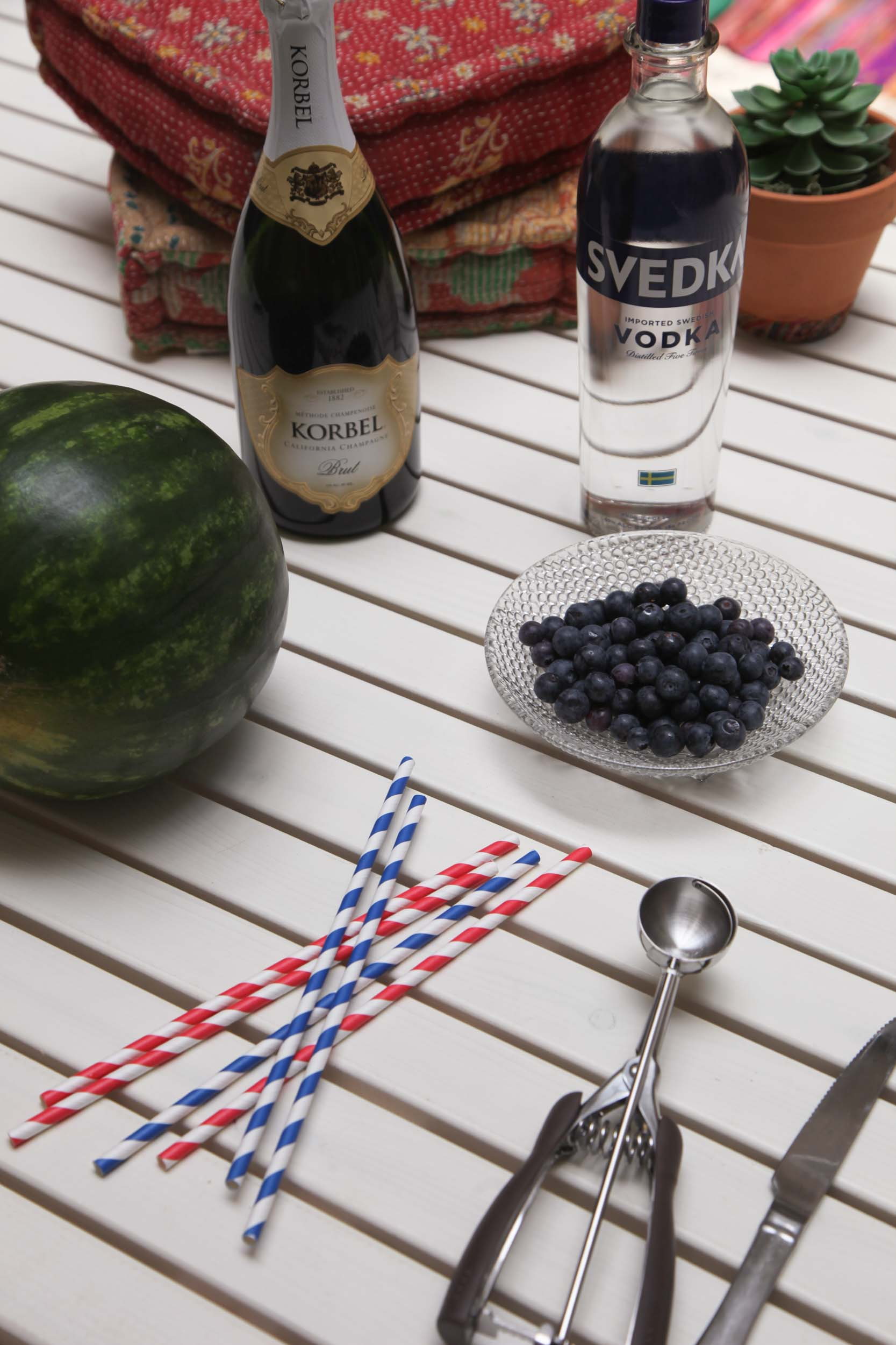 INGREDIENTS:   - Vodka           -Watermelon  -Champagne       -Blueberries   SUPPLIES:   -Knife             -Melon Scooper