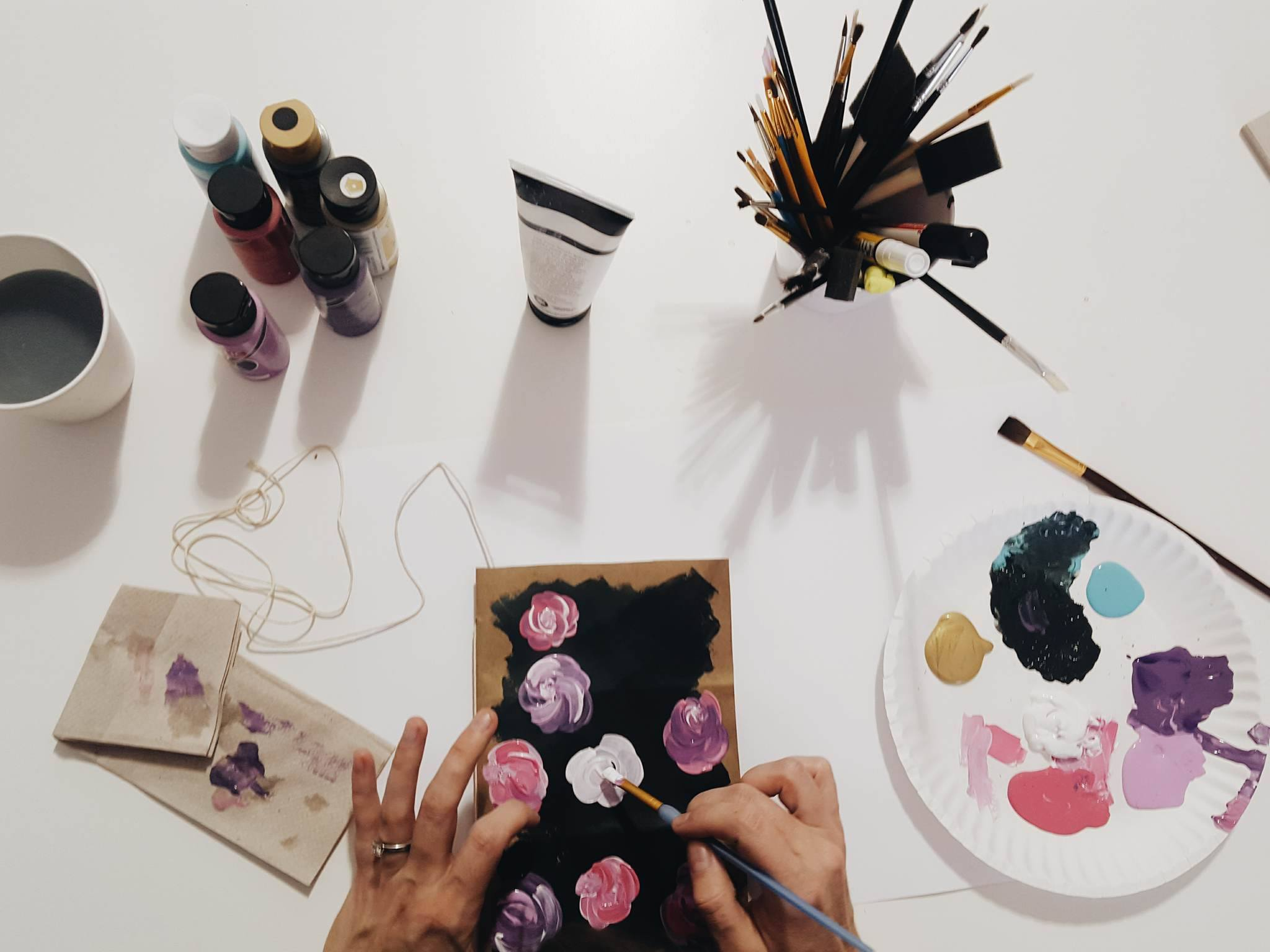 Customize your cover with a painted design of your choosing. Don't be afraid to get messy or have imperfections, the   made-by-hand-ness,  makes your journal so special.