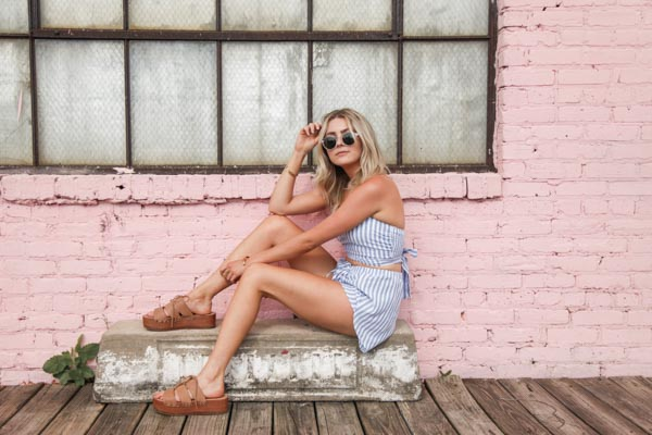 Shop the    Reverse Young And Free Striped Set