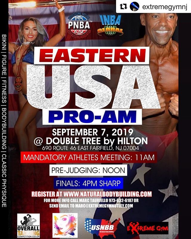 "#Repost @extremegymnj with @get_repost ・・・ Just about 8 1/2 weeks out, be sure to book your tan with @overalltanning MUA @nicolepillamua and reserve your room by using group code ""EXTREME GYM"" if you aren't registered for the event yet jump over to www.naturalbodybuilding.com this is an EVENT that you dont want to miss and this show will also be covered by @ironmanmagazine . #nattymuscle #proqualifier #naturalolympia #bikini #figure #bodybuilding #physique #fitness @inbaglobal_official"