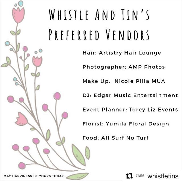 #Repost @whistletins with @get_repost ・・・ Today we are thankful for amazing people in our lives and fantastic vendors that we used or know who consistently hit it out of the park! . . 💇 Hair: @artistry_hair_lounge 📸 Photography: @tonybizetaphoto 🎶 DJ & Live Music: @edgarmusicentertainment 🌹 Florist: @yumilasfloraldesigns 🦞 Food: @allsurfnoturf 💄 Makeup: @nicolepillamua 💡 Event Planner: @toreylizevents . . . #whistletins #thinkofothers #thursday #thankful #mobilebar #horsetrailerbar #bar #coffeehouse #mobilecoffee #espresso #smallbusiness #shoutout #njfoodtrucks #newjersey #neighbors #wedding #onceabride #events #eventplanner