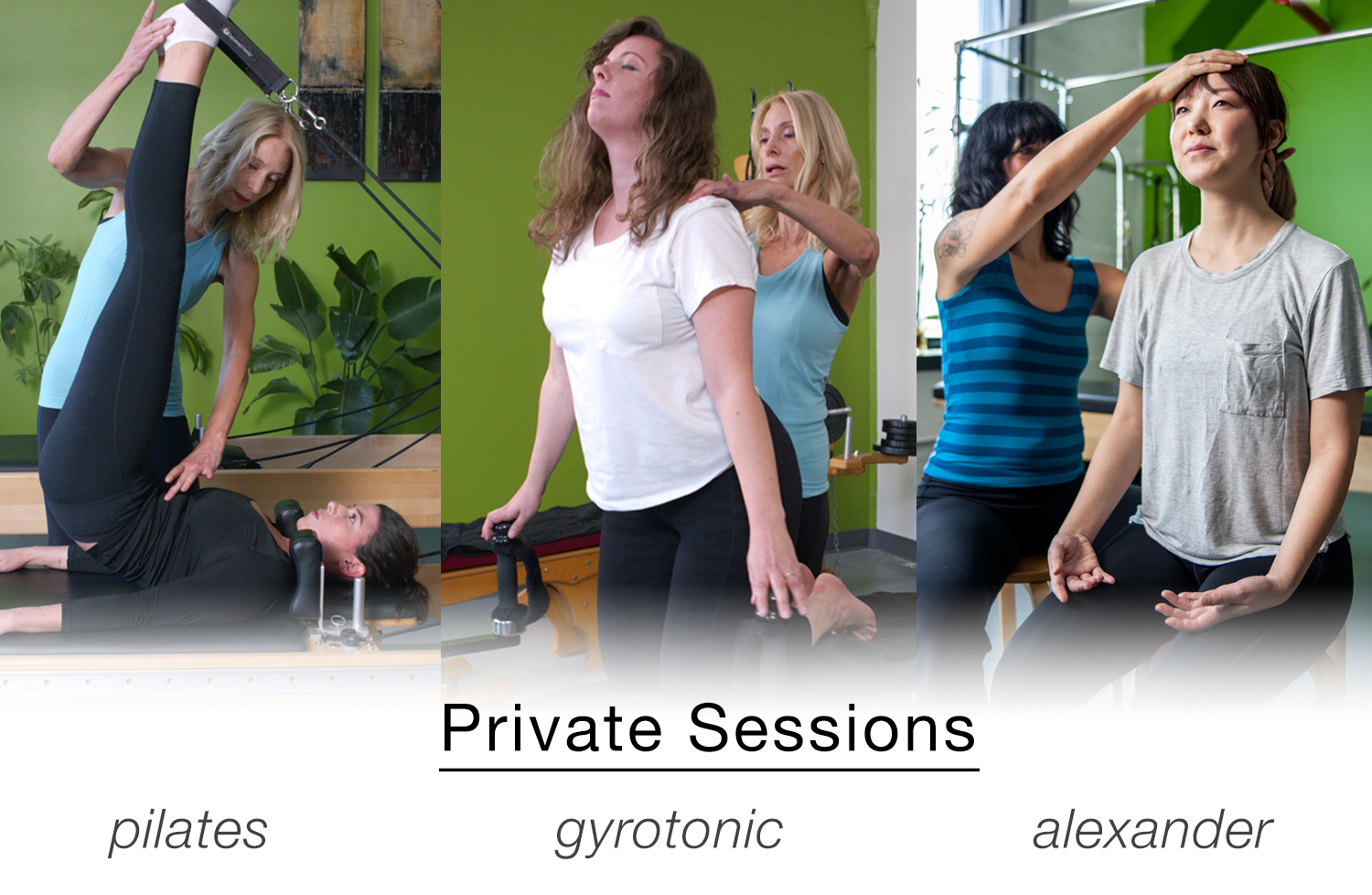 Under the guidance of founder Janine Flasschoen, private sessions are customized and tailored to your individual needs. Janine is meticulous in her attention to detail, form, and alignment that will help unlock the power, balance, and energy you already have. Check out our  schedule page  to sign up for a session!